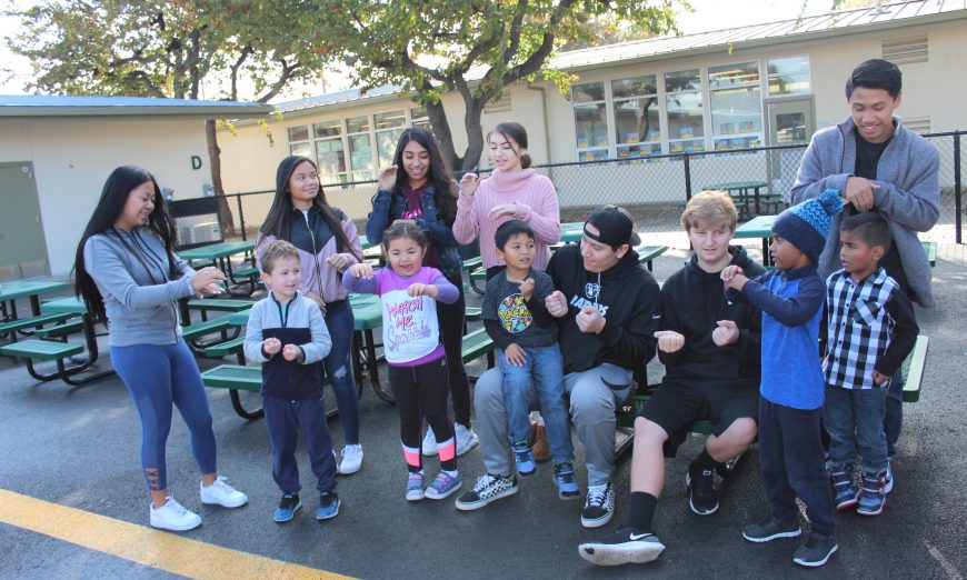 Kindergarten Students Learn American Sign Language from High School Students, Central Park Elementary School, Santa Clara High School