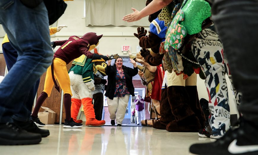 Santa Clara Teacher Receives $10,000 Surprise Stacy Butler High Fives Mascots, PAC-12 Pomeroy Elementary School,