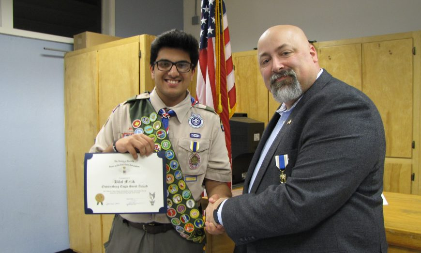 Santa Clara Scout Recognized as State's Top Eagle Scout for Second Consecutive Year, Santa Clara's Boy Scout Troop 14, Bilal Malik