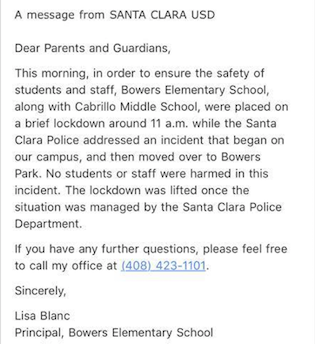 Santa Clara School Lockdown