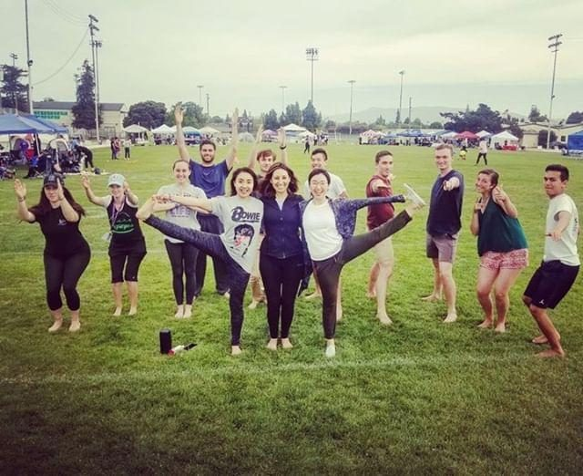 Jiaren Yoga held a yoga session at Relay for Life Santa Clara, flowers, butterfly