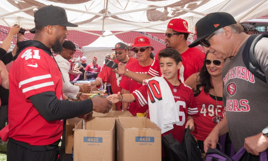 The 49ers Picnic On The Field featured a NFL 100thanniversary celebration. The 49ers and the NFL are celebrating Huddle for 100.