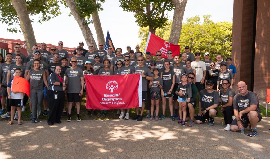 Santa Clara Police Department and Sunnyvale Department of Public Safety both participated in the Torch Run to get the Flame of Hope to the Special Olympics.