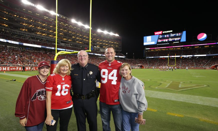Santa Clara Police Chief Mike Sellers was named Hometown Hero at the recent San Francisco 49ers preseason game against the Los Angeles Chargers.