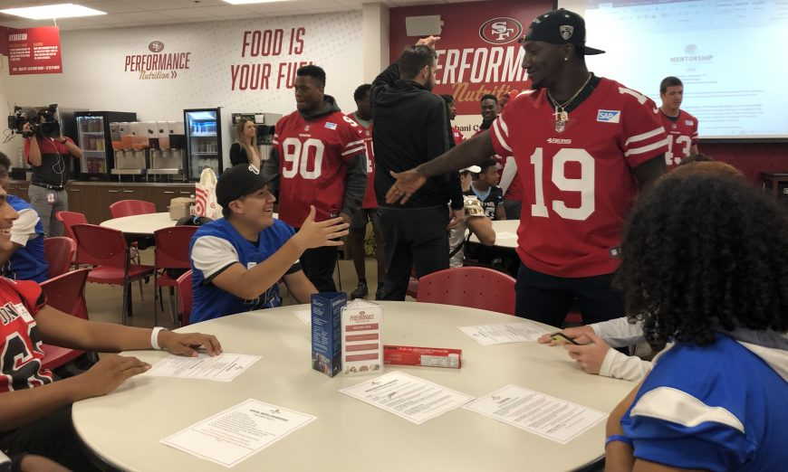 The Santa Clara High School football team met the 49ers players at the team's 49ers Mentorship Academy. The Bruins were excited to meet the players.