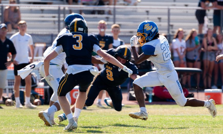 Santa Clara Bruins first-year starting quarterback Rocco Rolih IV put in work in the football game against the Menlo Knights.