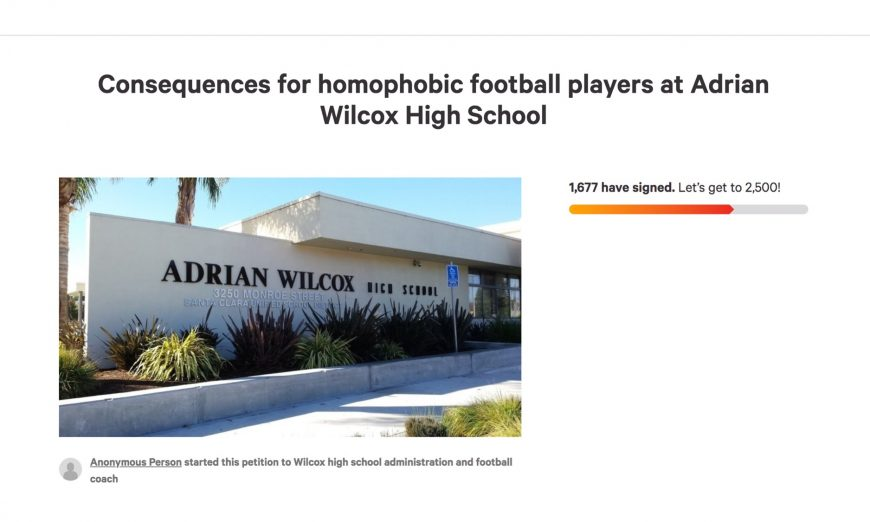 At a Wilcox High School football game, a male cheerleader may have been verbally harassed by football players. A petition has started.