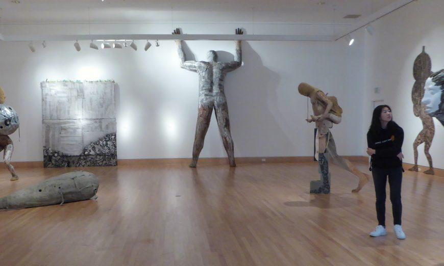 Triton Museum's new solo sculpture exhibit is Wandering in the White Wilderness/Maleza Blanca by Hector Dionicio Mendoza.