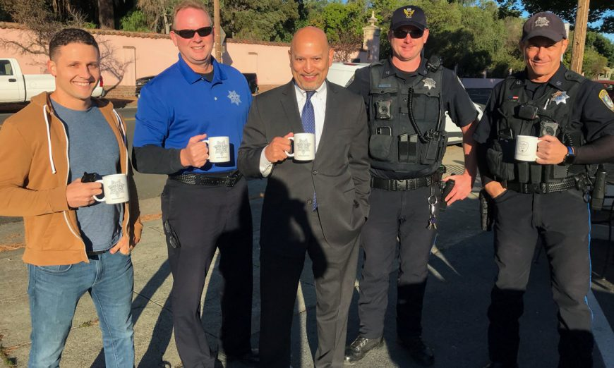 Last week was National Coffee with A Cop Day. Deputy District Attorney Johnny Gogo and Santa Clara Police Department officers took part.