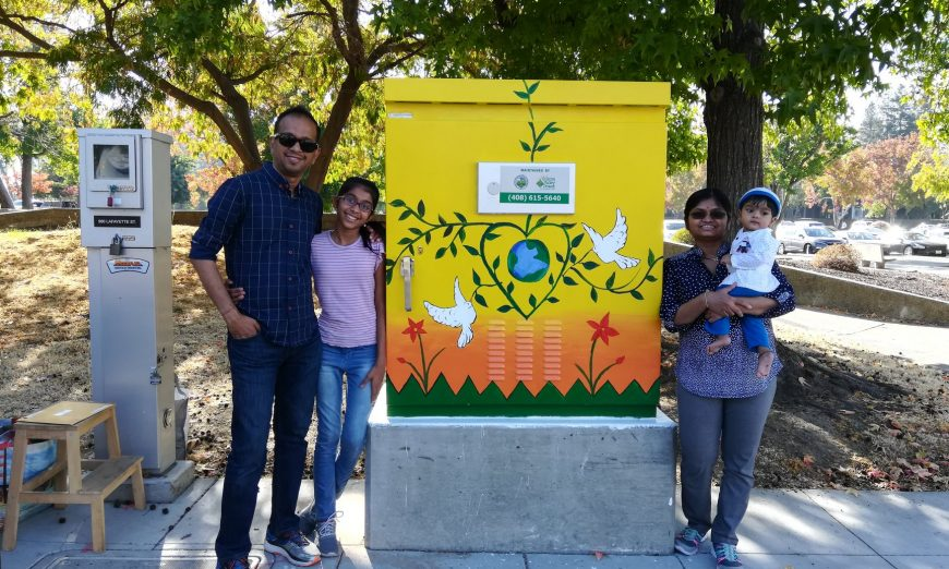 Khushi Kolte, a 7th grader at Horner Junior High School, has painted art on a Santa Clara utility box through the City's Utility Art Box Program.
