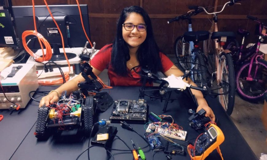 Aryia Dattamajumdar has been awarded a scholarship from the Davidson Fellowship. She developed an artificial intelligence robot for hazmat situations.