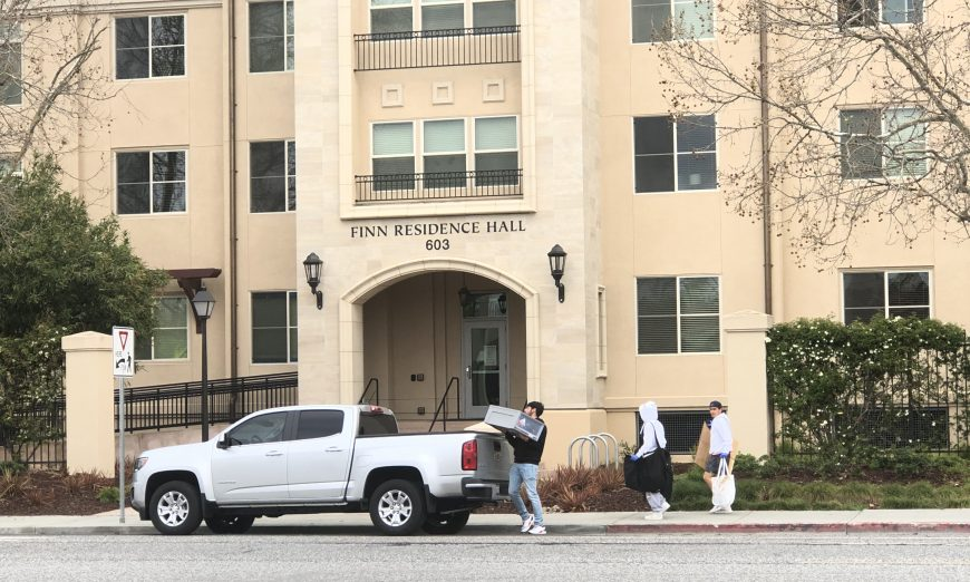 Santa Clara University students have to move out of their on campus housing due to a COVID-19 case. They also are told to prepare for Online Classes.