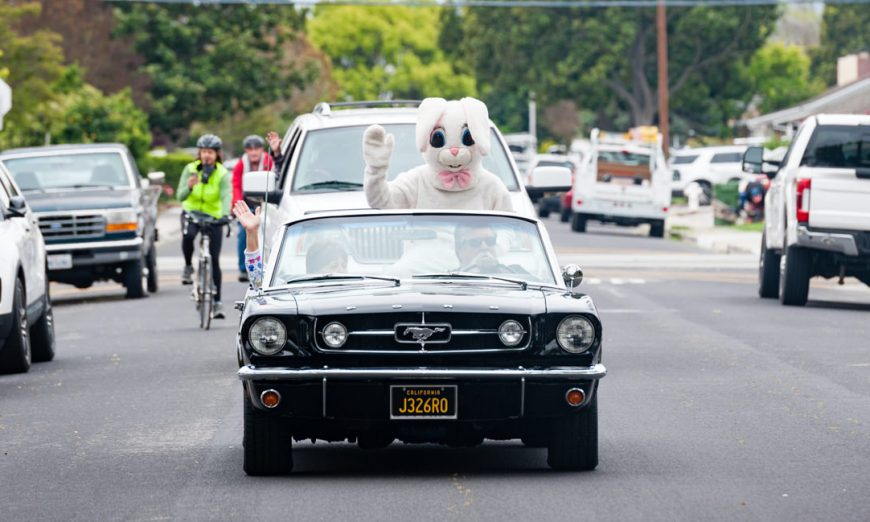 A Santa Clara Easter Bunny was seen driving around neighborhoods to bring some fun and light to sheltering families due to COVID-19.