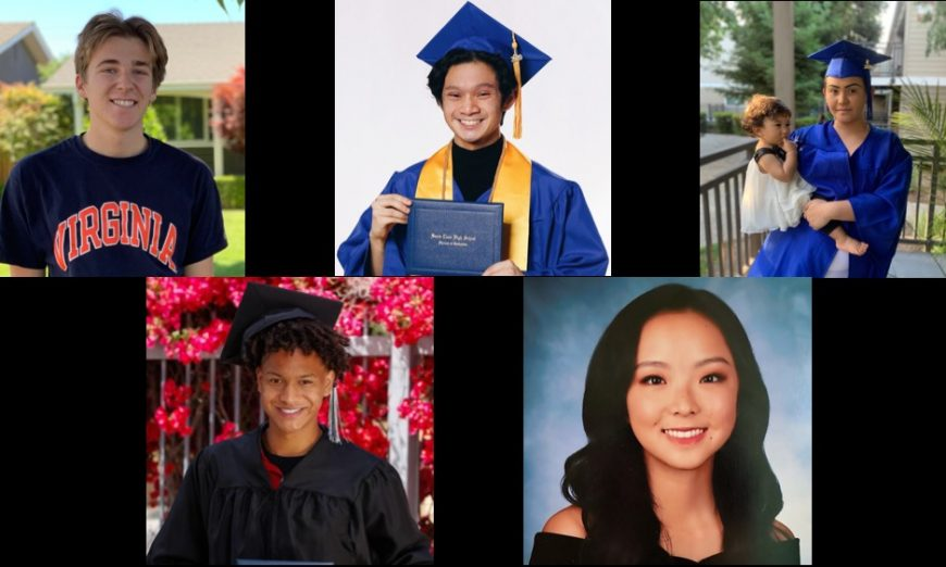 The Santa Clara Unified School District Public School Week Award winners include seniors Vincent Kloes, Chaziel O'Neal, and Allyson Yi.