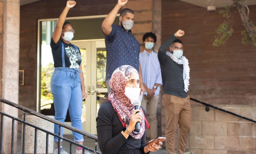 There was a peaceful Black Lives Matter Protest at Santa Clara City Hall. It was held by the Middle Eastern/North African allies.