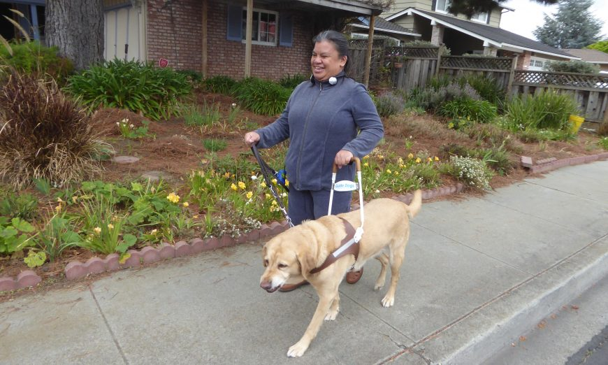Nancy Prior needs some help in her day to day life because she is blind. She uses her guide dog to get around and get help daily.