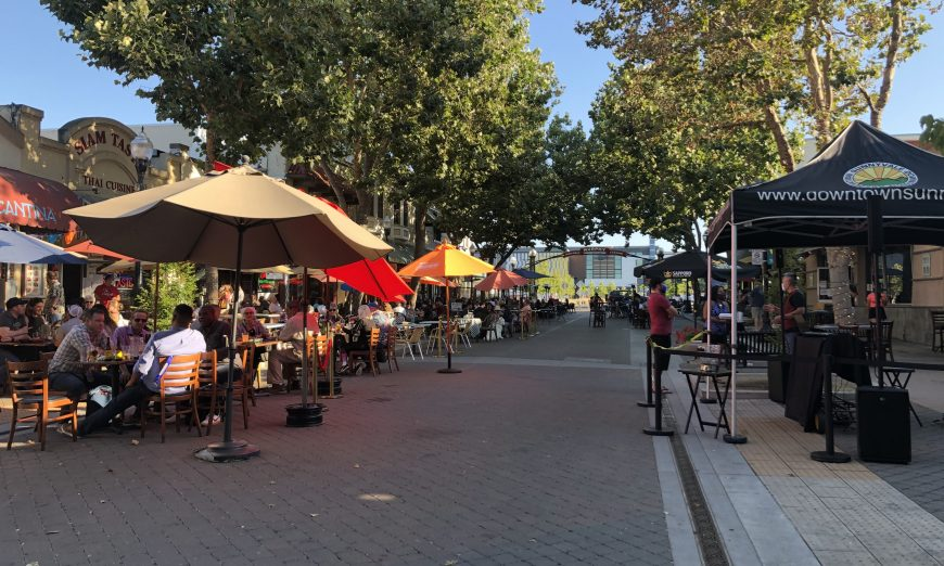 Sunnyvale's Downtown Association had decided to add music to their outdoor dining. Santa Clara canceled their Summer concerts.