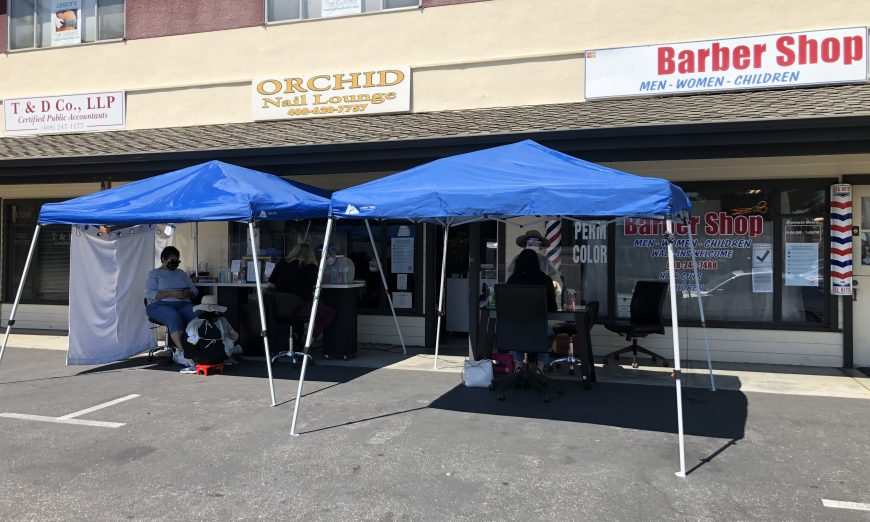 Hairstylists and nail salons are stuggling with new COVID-19 health orderes. Many have moved operations outdoors since indoor operations are not allowed.