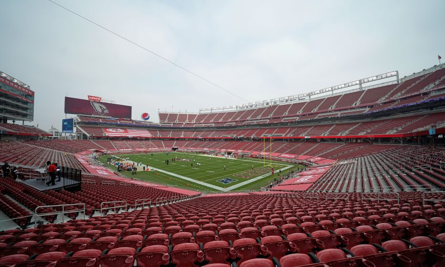 The 49ers played at an empty Levi's Stadium with no fans in sight. Due to health department guidelines, no fans could be at the game.
