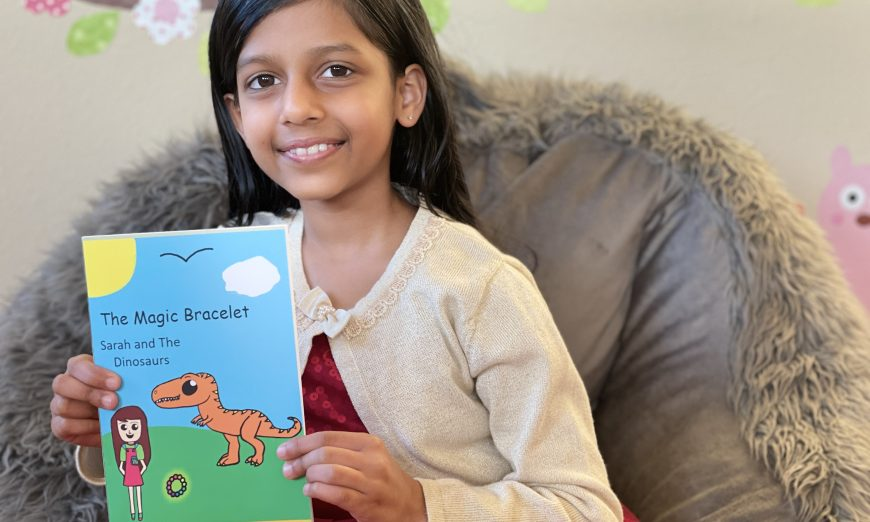 """Aarna Agrawal is a self-published author at the age of eight. Her children's book is called """"The Magic Bracelet Sarah and The Dinosaurs."""""""